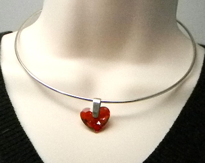 Featured listing image: Discreet Slave Collar Swarovski Crystal Element Red Magma Heart Allen Key Locking Day Collar in Sterling Silver