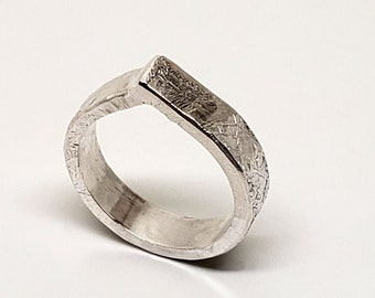 Hand Forged, Textured Rustic 5mm Teardrop Band Ring in Sterling Silver