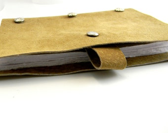 Quarter Page Sized Tan Recycled Leather and Recycled Hand Torn Paper Refillable Portable Journal