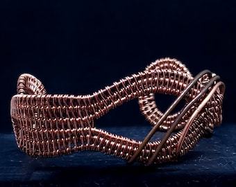"""Dramatic Hand Woven Wire Copper Cuff Bracelet will fit a 6.5"""" or smaller wrist partially antiqued for contrast"""