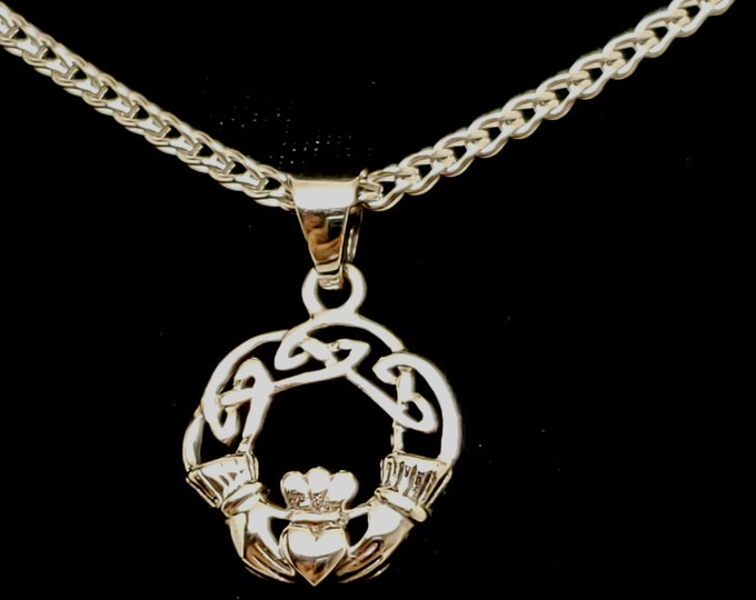 Featured listing image: Ultra Discreet Sterling Silver Slave Collar 2.4mm Diameter Foxtail Chain with Sterling clasp and Claddagh Pendant