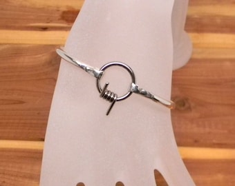 Barbed Wire Focal Sterling Silver Slave Cuff with Surgical Stainless Steel Captive segment Ring Clasp