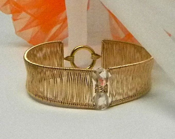 Featured listing image: Hand Woven 14kt gold filled Slave Cuff Bracelet with Gold Plated Stainless Captive Segment Clasp