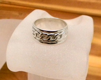 Chained Affection Sterling Silver Patterned Band Toe Ring 8mm wide