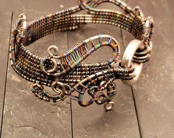 Discreet Slave Bracelet Hand Woven Stainless Steel and Rainbow Niobium Alternative to Slave Collar