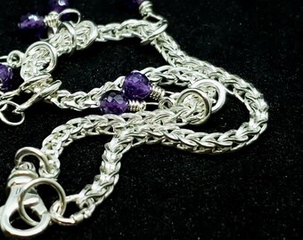 Sterling Silver Foxtail Chain with Free floating Genuine Amethyst Faceted Beads Wedding Bracelet