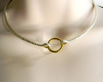 Textured Sterling Silver Public Day Collar with Gold Anodized Titanium Captive Segment Clasp/Lock (Made To Order)