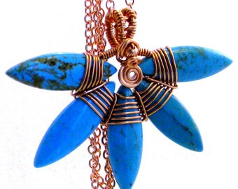 Turquoise Fan Pendant on copper chain