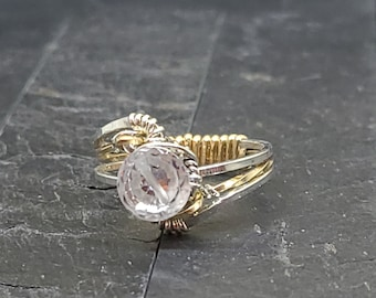 Hand Woven 14kt Gold Fill & Sterling Silver Cocktail ring with 7mm Clear CZ Faceted Solitaire