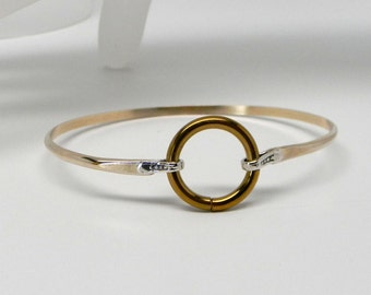Touch of Silver: Discreet Slave Cuff 14kt GF & Sterling Silver with Anodized Titanium Locking Captive Segment Ring Clasp (Made To Order)