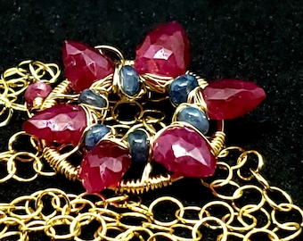 Ruby & Sapphire  Starflower Fashion Necklace, 14kt Yellow Gold Fill