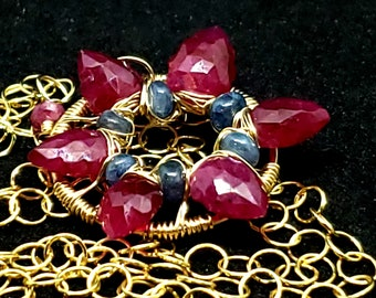 Ruby & Sapphire  Starflower Fashion Necklace 14kt Yellow Gold Fill