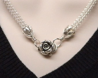MADE TO ORDER The Roses No 2 Slave Collar Sterling Silver Hand Woven Viking Knit Chain