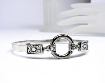 Angular & Dramatic Sterling Silver Locking Slave Cuff with Surgical Stainless Steel Captive Segment Ring Clasp