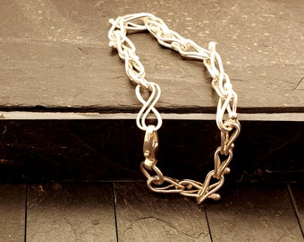Sterling Silver Peacock Tail Chain Bracelet with Double Infinity Symbol and Large Sterling Swivel Lobster Clasp