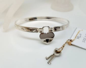 Made To Size Hearts all Around Sterling Silver Slave Cuff or Anklet With Silver Tone Heart Padlock