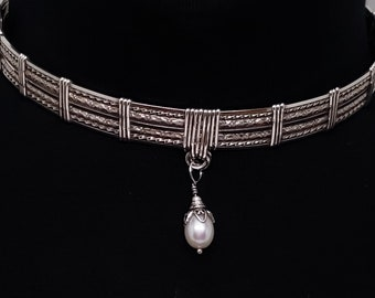 Lockable Sterling Slave Collar Pearl Drom, with Stainless Spring Clip O Clasp Lightly Antiqued (Made to Order)