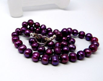Discreet Slave Collar, Deep Purple Fresh Water Potato Pearls Hand Knotted Silk Strand with Sterling Silver Clasp