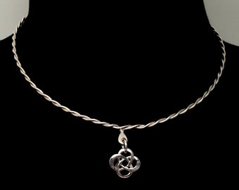 Shibari Themed Twisted Sterling Silver, Discreet Slave Collar with Celtic Knot Pendant and Sterling Clasp Adjustable Size