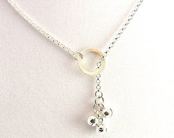 Made To Order Lariat Style Symbolic Slave Necklace Sterling Silver with Chiming Bells