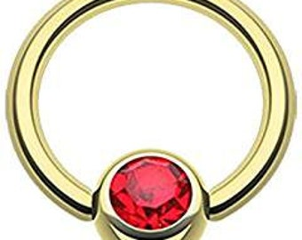 Captive Bead Body Jewelry with Red CZ 14g 1/2 inch Gold Plated over Surgical Stainless Steel Intimate Jewelry