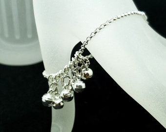 Free Floating Bells Discreet Sterling Silver Chain Slave Bracelet with Magnetic Keyhole Embossed Sterling Clasp