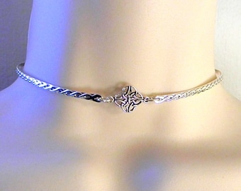 Made To Order Irish Lovers Sterling Silver Public Day Collar with Celtic Knot Focal and Stainless Steel Captive Segment Clasp