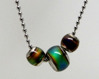 Color Changing Worry Bead Necklace on Stainless Steel Bead Chain (Limited Edition Holidays 2015)