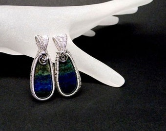 Pair of Pendants: Chrysocolla Lapis in Hand Woven Sterling Silver Bezels