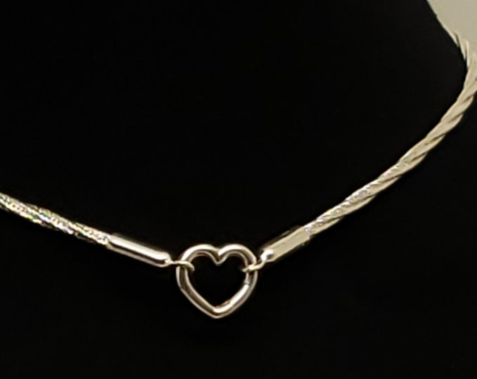 Featured listing image: Ultra Discreet Sterling Silver Slave Collar 3mm Diameter Twist Omega Chain with Sterling Heart Focal clasp