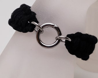 Hand Made Shibari Themed  Training Slave Cuff 00 percent Cotton and Stainless Steel