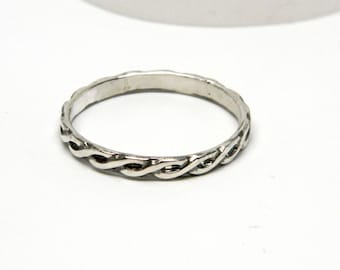 Antique Finish Sterling Silver Braided Rope Motif Ring