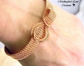 "Woven Wire Copper Cuff Bracelet will fit a 7"" Wrist."