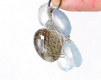 Rutilated Quartz, Sterling Silver, and Aqua Chalcedony Flower Pendant