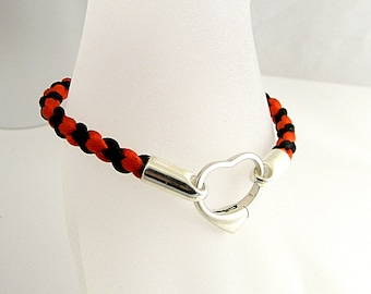 Hand Braided Satin Cord & Sterling  Silver Slave Bracelet Clasped with Sterling Heart Spring Gate Clasp