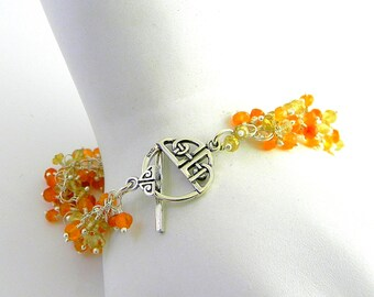 "Celtic Toggle Carnelian and Green Grossular Garnet Faceted Gemstone bracelet Sterling Silver will fit 6.25"" Wrist"