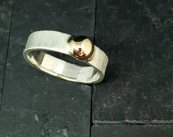 5mm Wide Band Brushed Finish Sterling & 14kt Gold Highly Polished Solitaire Accent Ring