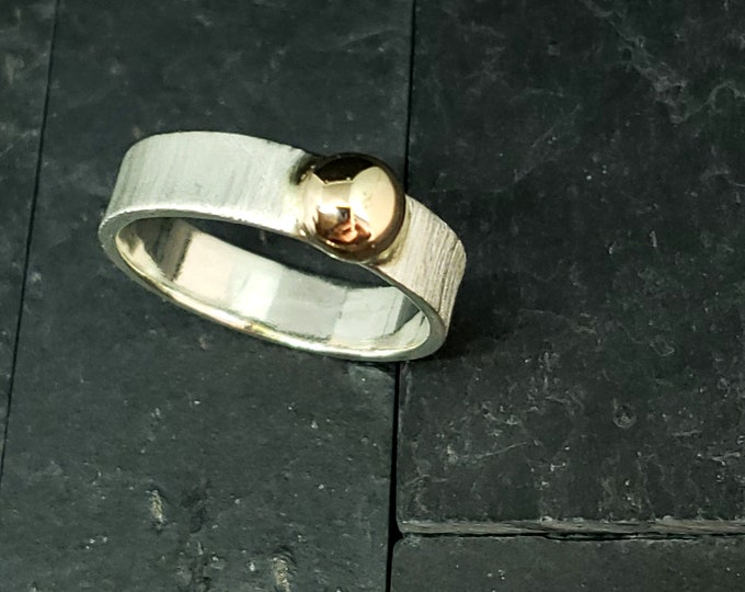 Featured listing image: 5mm Wide Band Brushed Finish Sterling & 14kt Gold Highly Polished Solitaire Accent Ring