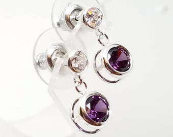 Sparkling Cubic Zirconia Studs with 6mm Amethyst CZ Drops and Wide Backed Ear Nuts Sterling Silver