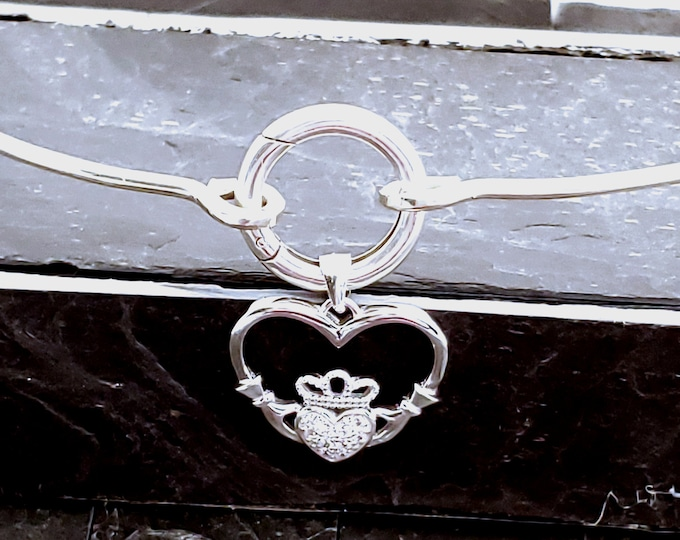 Featured listing image: Ultra Discreet Sterling Silver Slave Collar O clasp and CZ Claddagh Removable Pendant Celtic