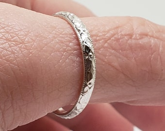 Textured Sterling Silver Wedding Band Promise Ring SZ10 US