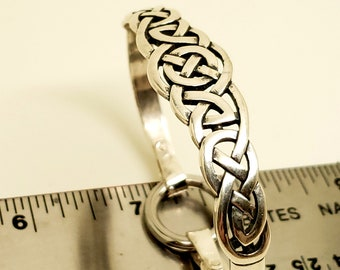 Discreet Celtic Dramatic Sterling Silver Locking Slave Cuff with Surgical Stainless Steel Captive Segment Ring Clasp