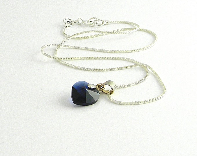 Featured listing image: True Blue Love Choker Length Dark Blue Swarovski Element Heart  Necklace with vintage silver bail on  Sterling foxtail chain 14""
