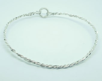 Shibari Themed Twisted Sterling Silver Discreet Slave Collar with Sterling Clasp