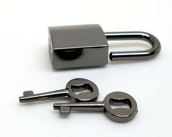 Small Gunmetal Black Nickel Padlock/Clasp