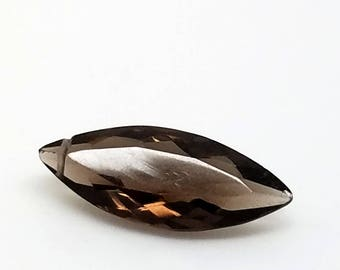 1 Smokey Quartz Faceted Briolette Focal  22. mm long 8mm wide 5.5 mm thick Tip Drilled Sideways
