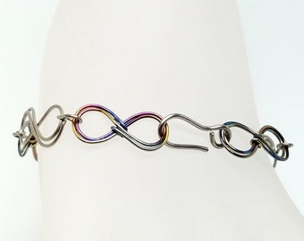 Infinity Link Bracelet Titanium and Anodized Niobium Hand Formed 7""