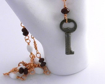 "Steampunk Religion Necklace No 7  with antique key 27"" extra long Copper Glass & Crystal"