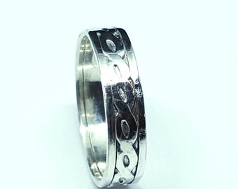 Sterling Silver Rope Patterned Band Ring 5mm wide Inexpensive Wedding Band Promise Ring