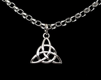Heavy Sterling Silver 0val (5mm x 3.5mm) Rolo Chain, Discreet Symbolic Slave Collar, Celtic Knot Circle Trefoil Lobster Clasp